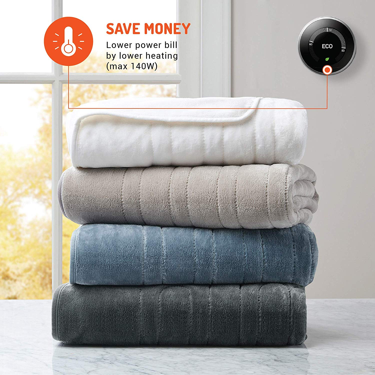 Fast Heating Plush Microlight 3 Heat Settings Degrees of Comfort Electric Heated Throw Blanket UL Certified /& Low EMF Radiation 6ft Cord and 3ft Controller Cable Easy to Wash 50x60 Red